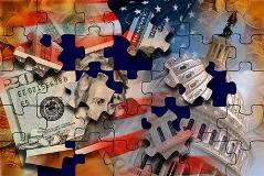 Puzzle pieces with money and capitol on them
