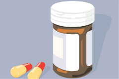 Cartoon prescription pill bottle with two pills