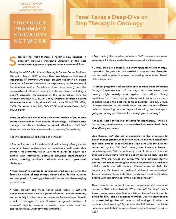 Panel takes a deep dive on step therapy in Oncology Article Thumbnail