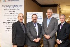 (From left) Greg Simon, JD; Steven L. D'Amato, RPh, BSPharm;  ACCC President Tom A. Gallo, MS; and ACCC Immediate Past President Mark S. Soberman, MD, MBA.